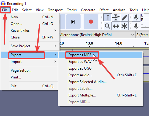 finally export the file new joined with Audacity 130