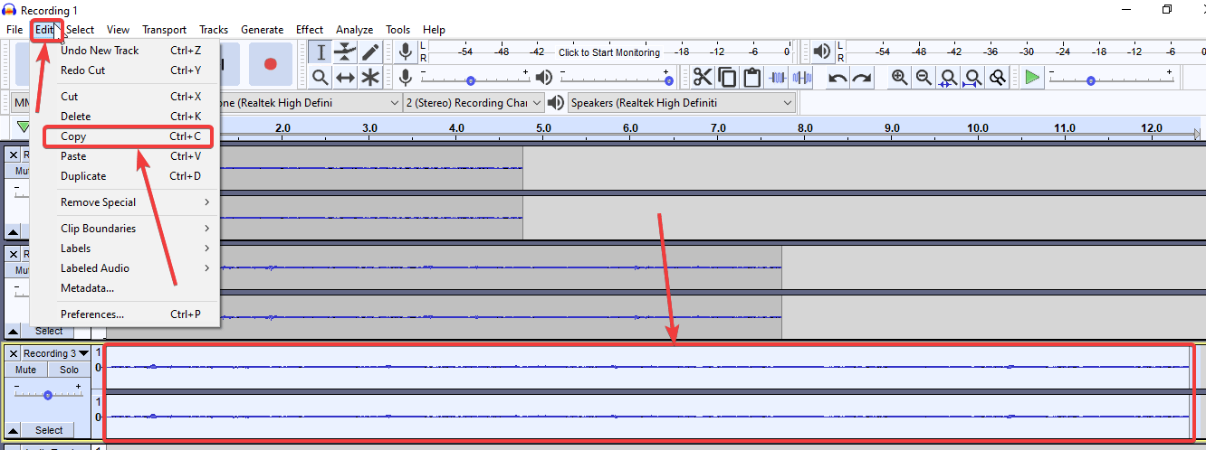 complete waveforms of the individual audio clips