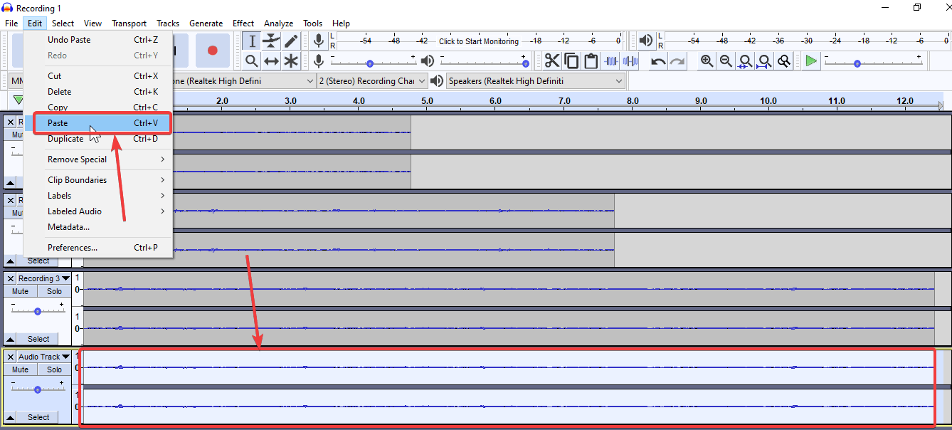 select the new empty audio track created