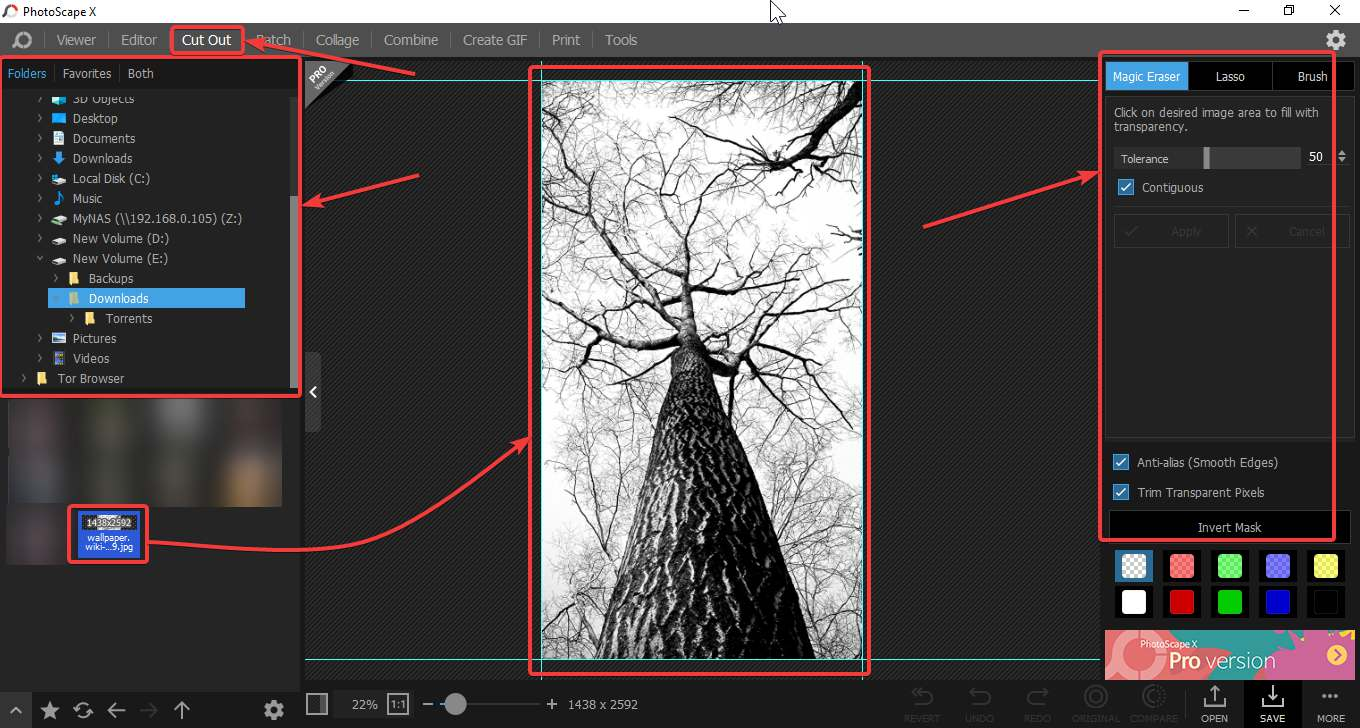 Make images transparent with Photoscape X 20