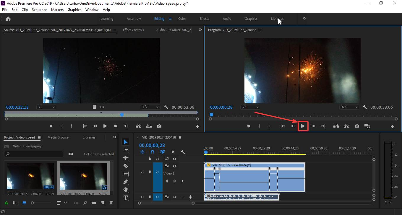 Make videos slow and fast using Adobe Premiere 110