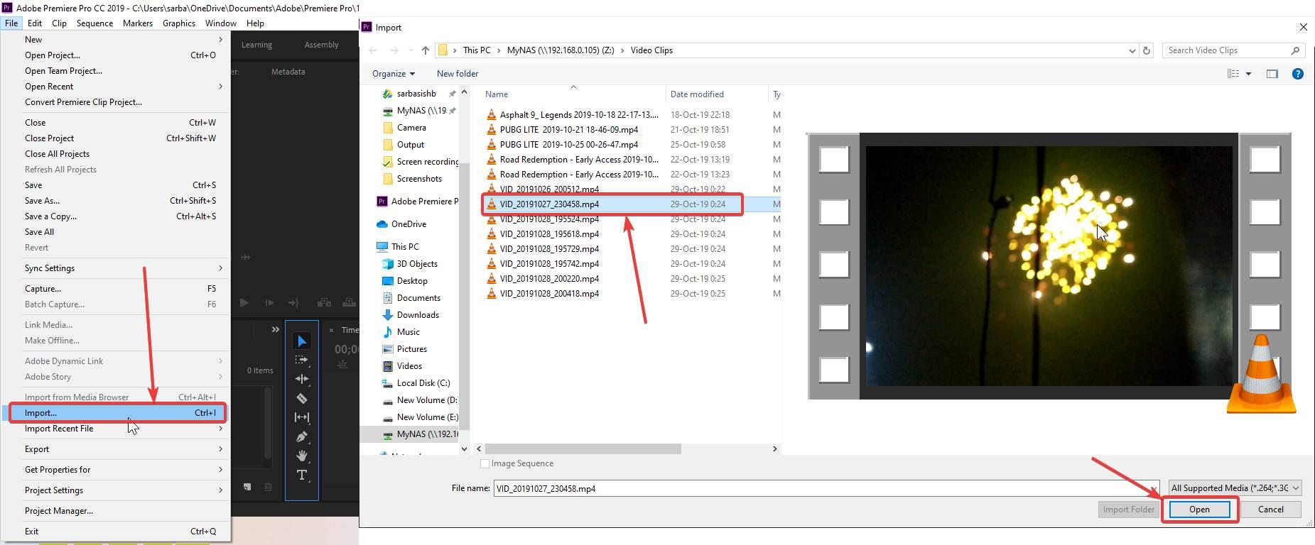Import video in Adobe premiere