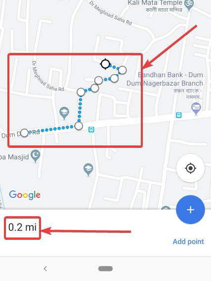 measuring distance on the Android app