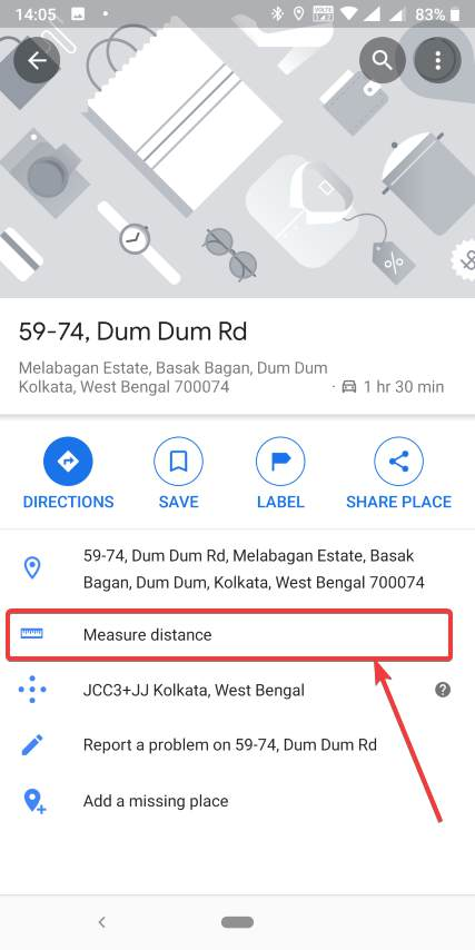 set two location to calculate distance on mobile map app