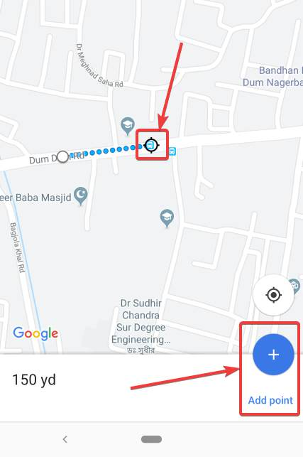 Add point button on Google map