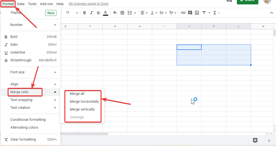 Merge cells horizontally or vertically Google excel