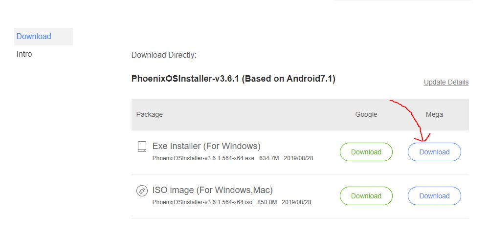 Download Phoenix OS installer for WIndows 10 or 7