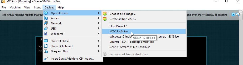 Remove MX Linux ISO image from Virtual Box