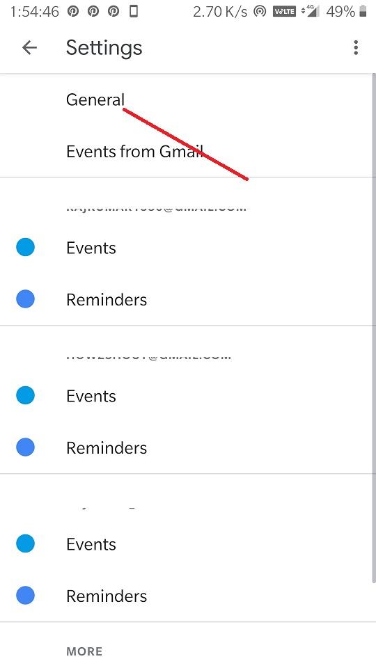 Select Gogole Calender settings General