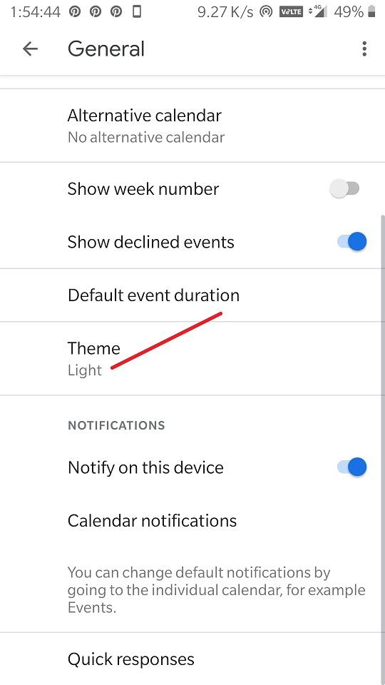 Select Google Calender dark theme