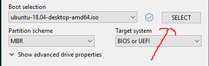 Select ISO image to burn on USB