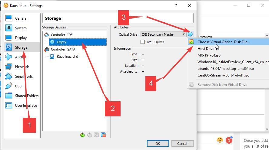 Select KaOS ISO image as bootable medium