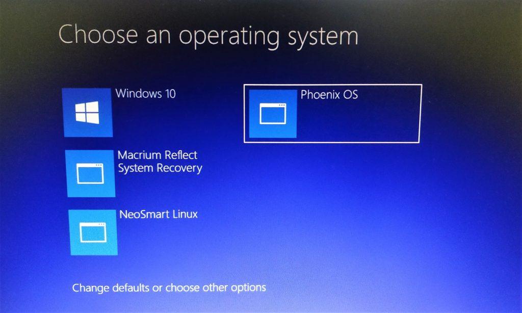 Select PhoenixOS from Windows 10 boot menu