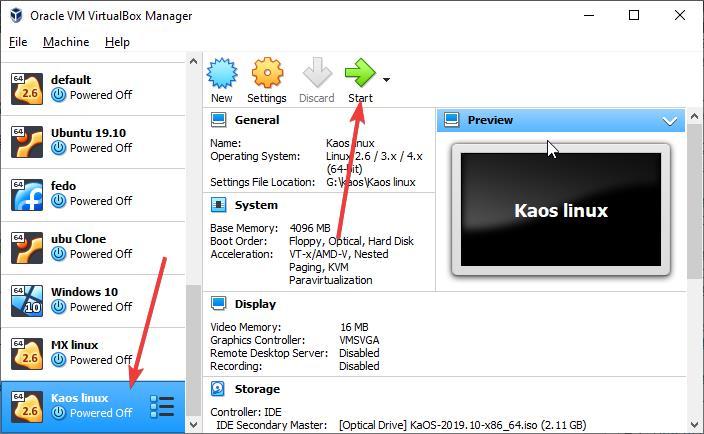 Start KaOS virtual Machine