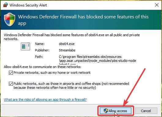 Windows Defender alert