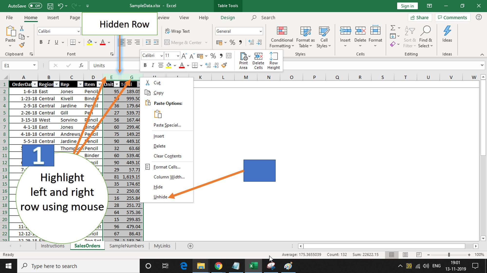 Unhide Rows in Excel sheets