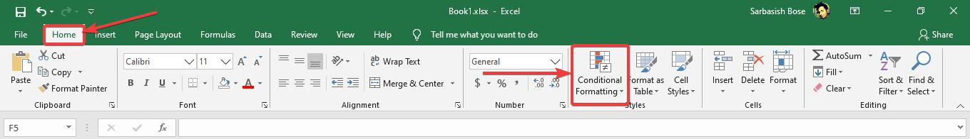 Use conditional formatting on Microsoft Excel 10