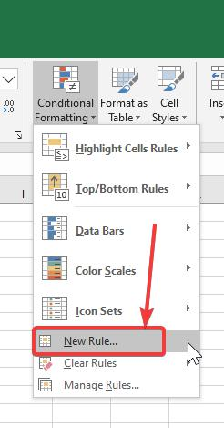 Creating a new rule for conditional formatting
