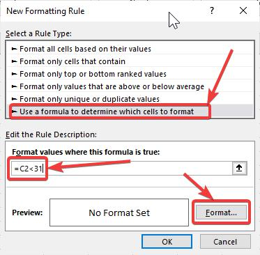 Use a formula to determine which cells to format