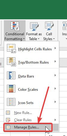 'Manage Rules…' under 'Conditional Formatting'.