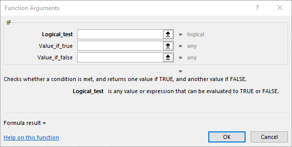 Function Arguments on Microsoft Excel 365
