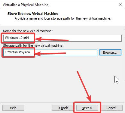 Store the new virtual machine