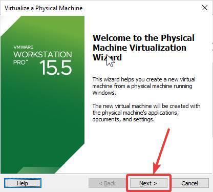 physical machine virtualization wizard