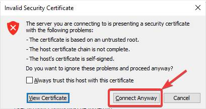 message about an invalid security certificate