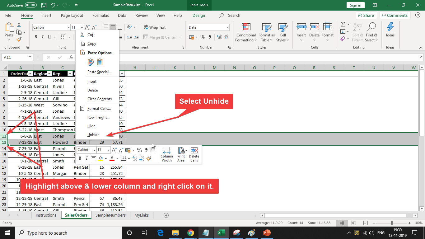 unhide column in Excel microsoft office