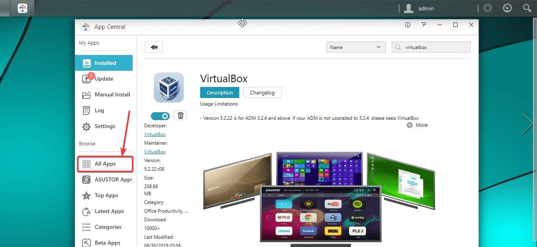 Install VirtualBox on Asustor NAS
