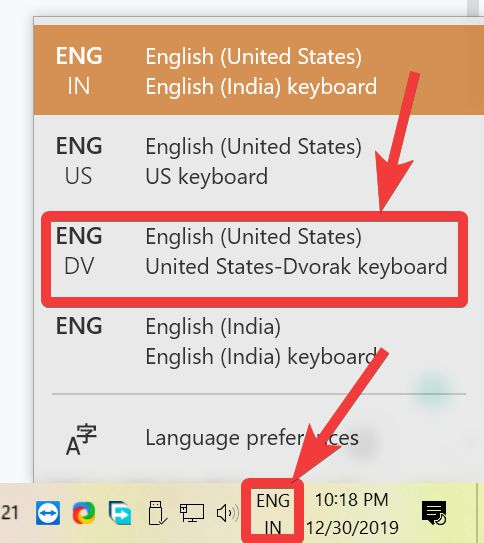 switch between the available keyboards or key layouts