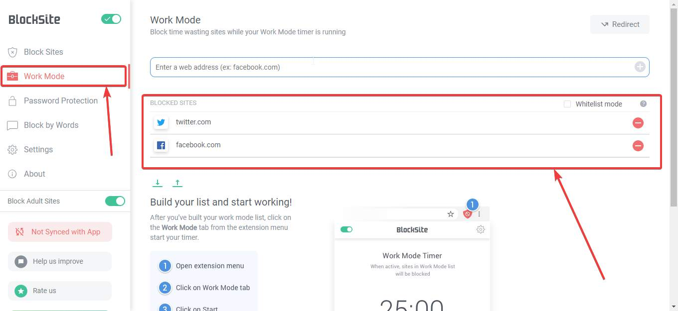 enable work mode Block Site extension