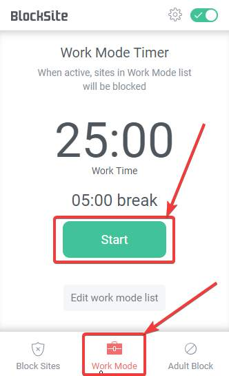 enable Work Mode on Block Site