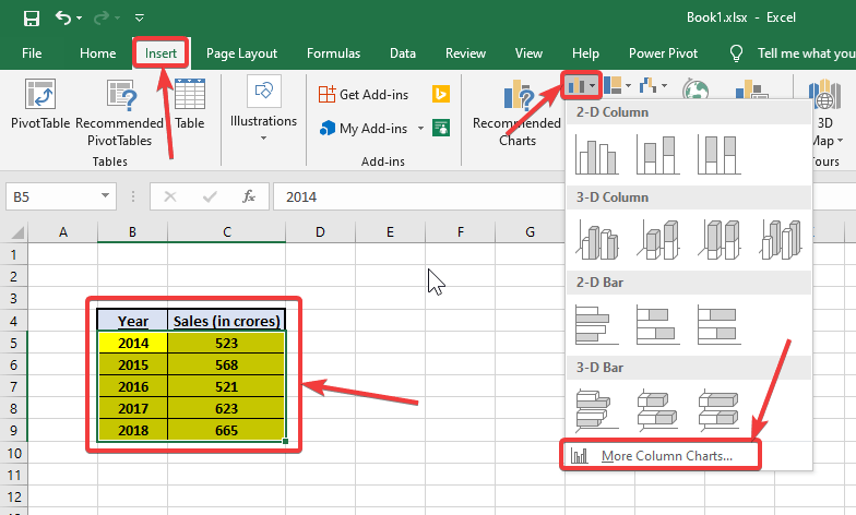 Creating a chart with an existing set of data