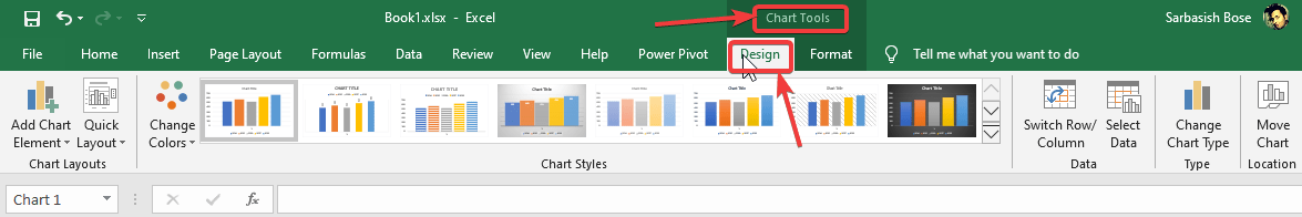 Design tab under Chart Tools tab of Excel