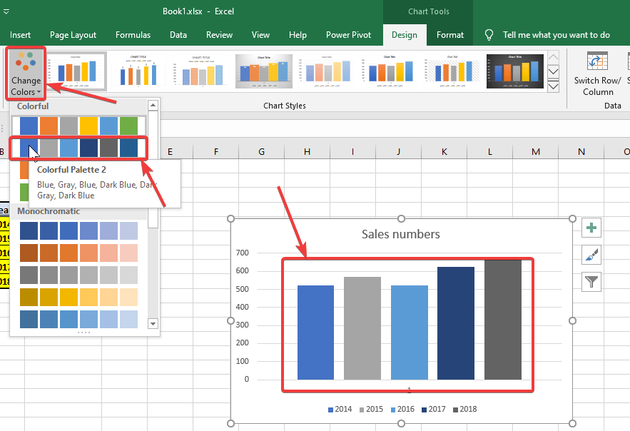 Change colors of the graph bars within the graph