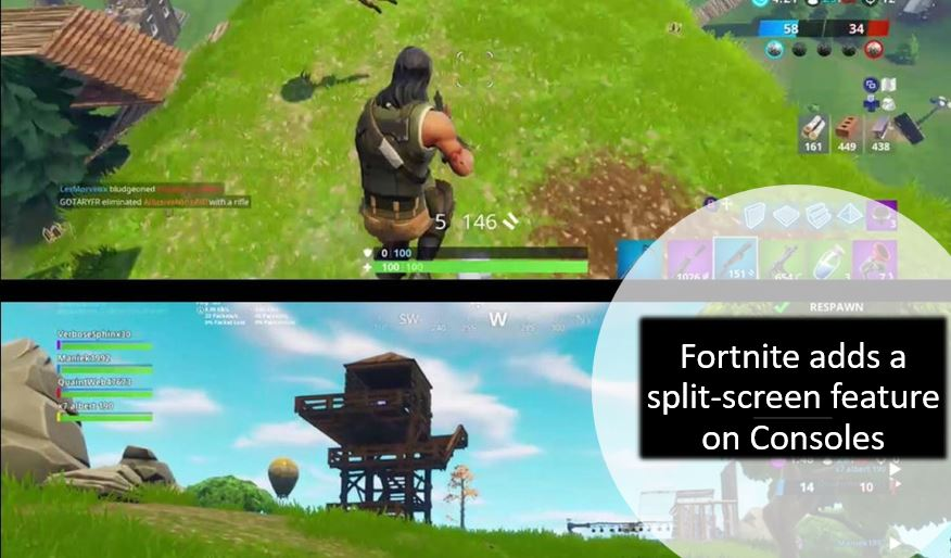 Fortnite adds a split-screen feature on Consoles