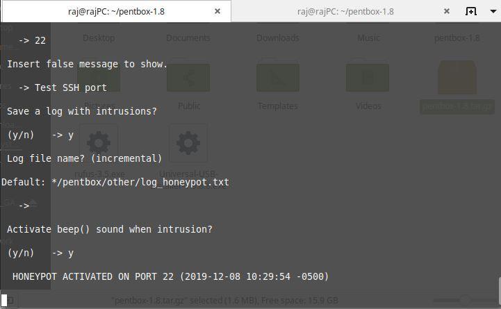 Make default log file and activate Kali Linux pot-min