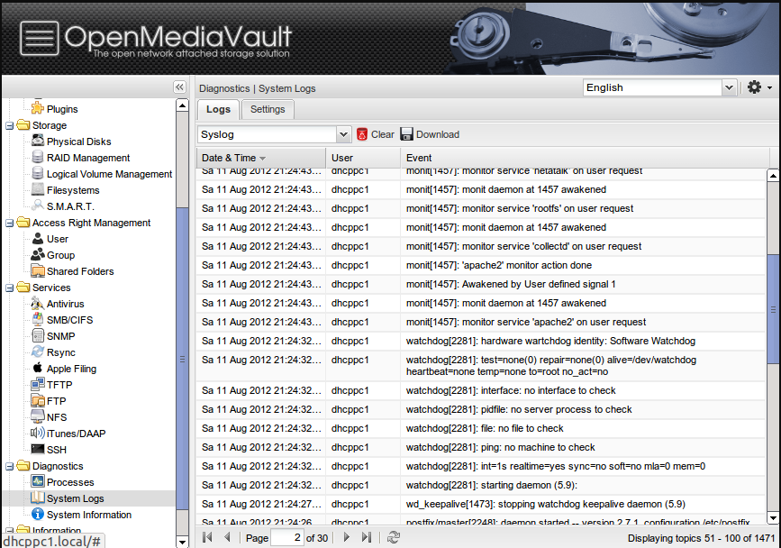 OpenMEdiaVault free NAS software