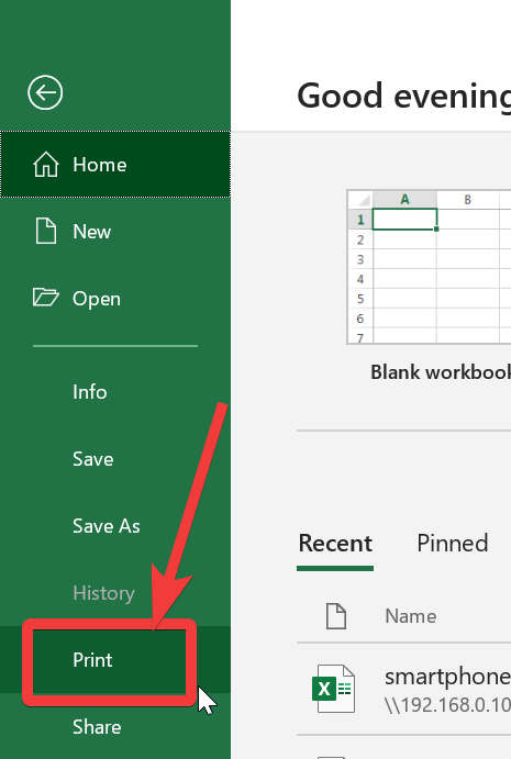 Ctrl + P to print excel sheet cells
