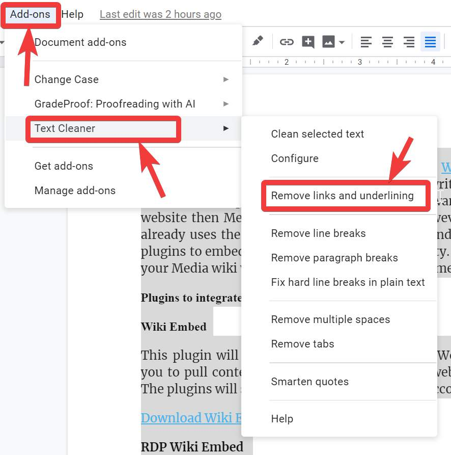 Remove links and underlining