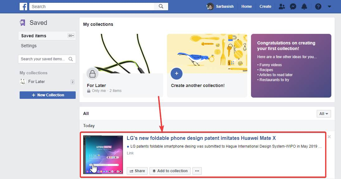 Save to Facebook extension on Chrome 50