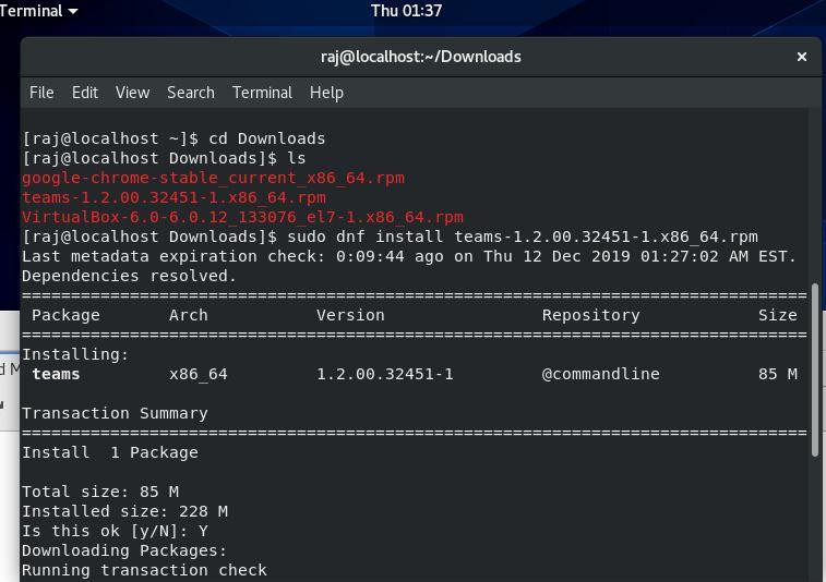 Team Linux client install CentOS 8