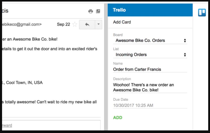 Trello extension for Gmail