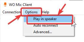 Play in speaker W MIC client