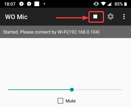 open the WO Mic app again on your Android device