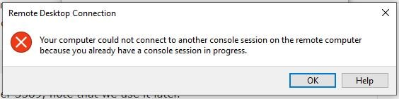 could not connect to another console session on the remote computer-min