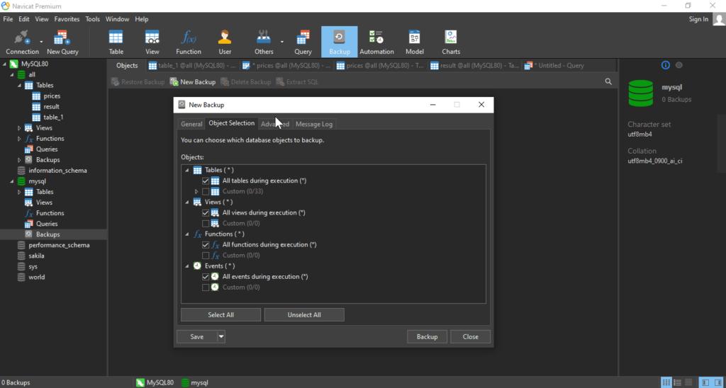 navicat 15 premium backup-database