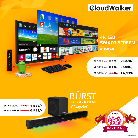 CloudWalker offers deep discounts on its 4K LED TV and BURST soundbar