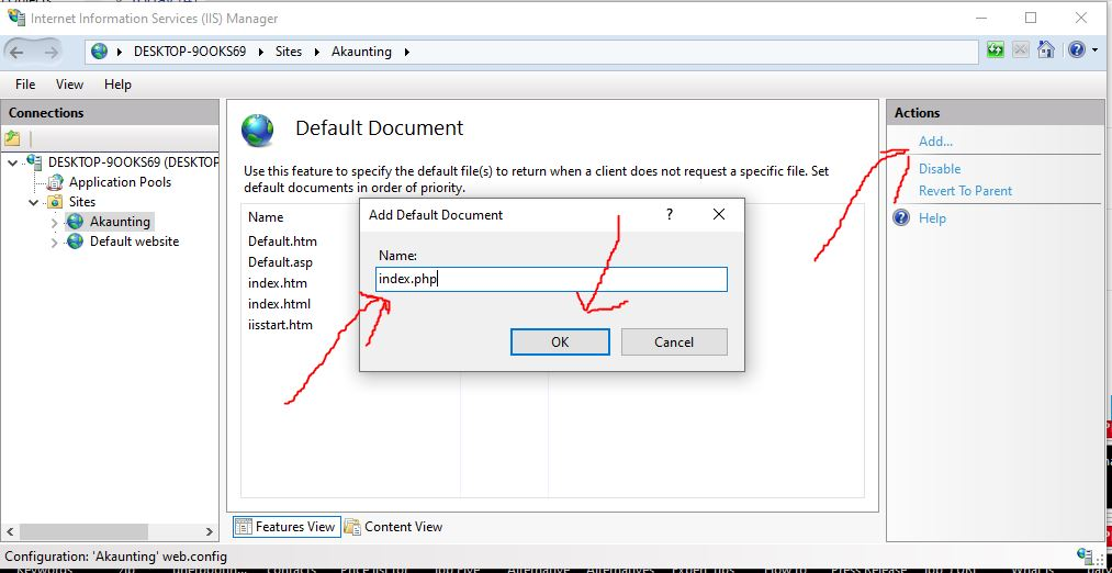 Add index.php in IIS website document